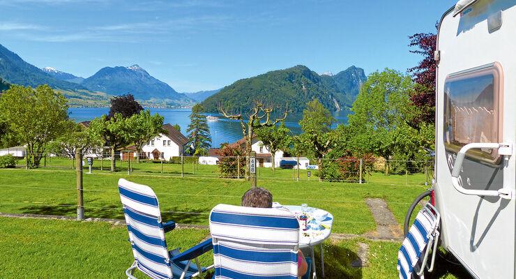 Camping Vitznau am Vierwaldstättersee.