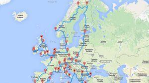 Europa Trip Karte
