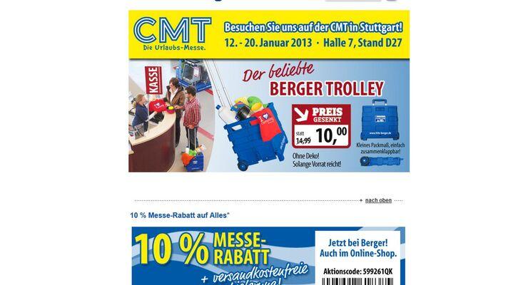 Fritz Berger gewährt während der CMT in Stuttgart vom 12.-20 Januar 2013 zehn Prozent Rabatt auf alle Artikel im Sortiment.