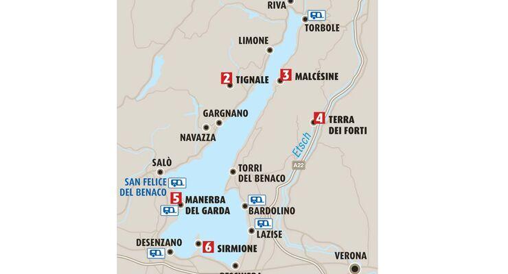 gardasee karte orte Campingurlaub am Gardasee: Die schönsten Orte (Seite 2)   Caravaning gardasee karte orte