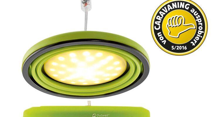 Zusammengefaltet sind die Lampen von Outwell ungefähr 2,5 Zentimeter hoch.